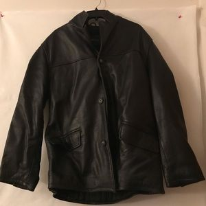 London Fog Men's Leather Button Up Jacket
